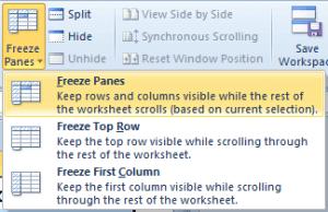 Penggunaan Freeze Panes
