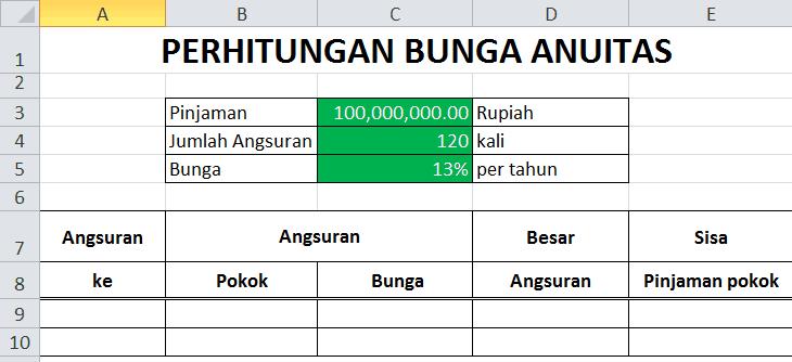 Rumus Excel Menghitung Bunga Anuitas Ms Office Indonesia